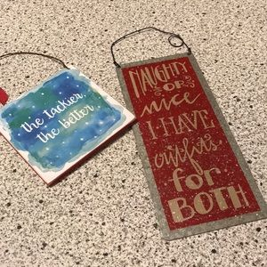 NEW ornaments naughty or nice Primitives by Kathy